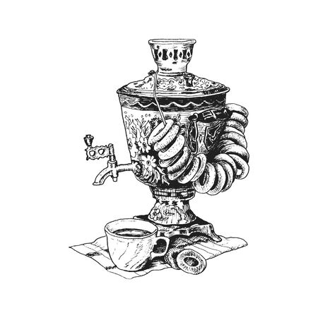 Russian Samovar or Boiling Tank Standing on Table with Cup of Hot Tea and Bread Rings Vector Illustration. Linear Drawing of Traditional Attribute of Russian Kitchen Illustration