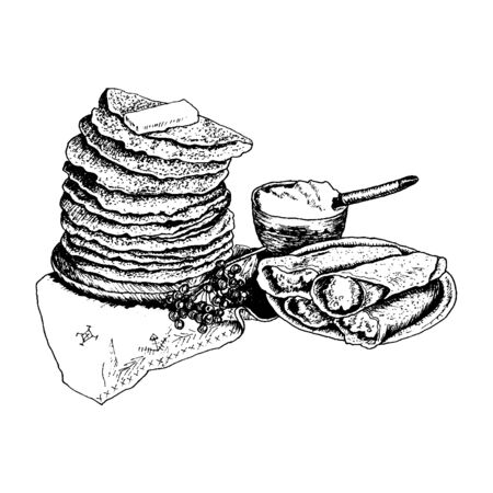 Pile of Blinis or Pancakes Stacked on Table with Sour Cream Vector Illustration. Linear Drawing of Traditional Russian Homemade Dish of Dough