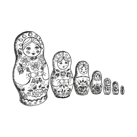 Russian Nesting Doll or Matrioshka Doll Vector Illustration. Linear Drawing of Traditional Russian Attribute and Tourist Souvenir