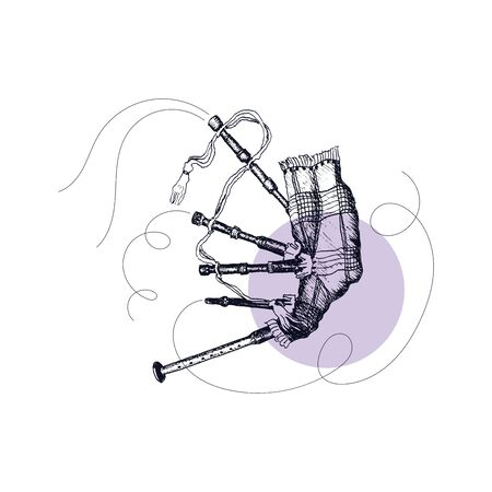 Bagpipe as Scottish Musical Wind Instrument Vector Illustration. Linear Drawing of Scotland Attribute and Folklore Symbol