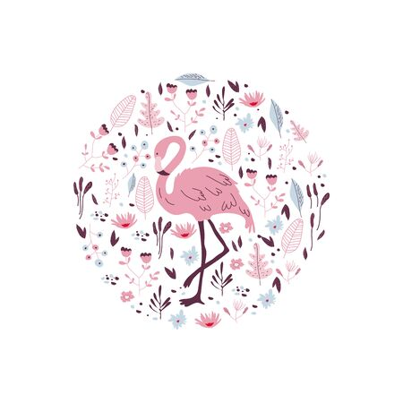 Flamingo Pink Bird with Tropical Palm Leaves and Jungle Plants Framed in Circle Vector Illustration. Exotic Bird of Paradise and Hawaiian Foliage Bouquet