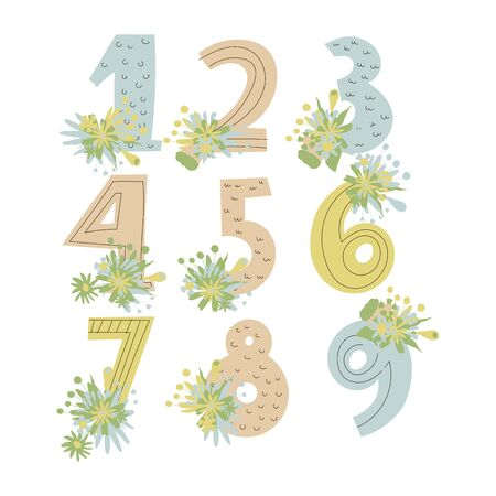 Numerals or Numbers with Bunch of Flowers Rested on Figure Edges Vector Set. Math Education for Little Ones Concept