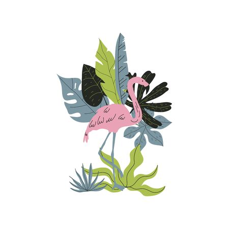 Flamingo Pink Bird with Tropical Palm Leaves and Jungle Plants Behind Vector Illustration. Exotic Bird of Paradise and Hawaiian Foliage Bouquet