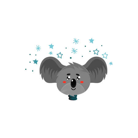 Cartoon Koala Gray Bear Head with Protruding Ears Expressing Shyness Emotion Vector Illustration. Funny Animal Facial Expression and Graphic Avatar