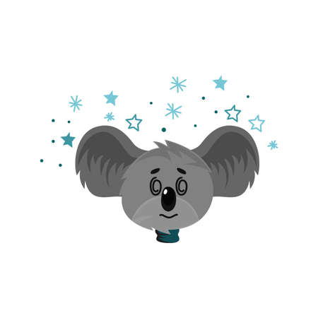 Cartoon Koala Gray Bear Head with Protruding Ears Expressing Fascinated Emotion Vector Illustration. Funny Animal Facial Expression and Graphic Avatar