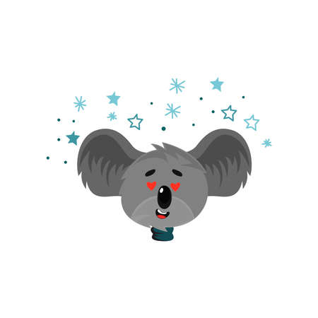 Cartoon Koala Gray Bear Head with Protruding Ears Expressing Love Emotion Vector Illustration. Funny Animal Facial Expression and Graphic Avatar
