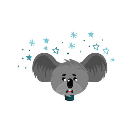 Cartoon Koala Gray Bear Head with Protruding Ears Expressing Emotion of Frustration Vector Illustration. Funny Animal Facial Expression and Graphic Avatar 向量圖像