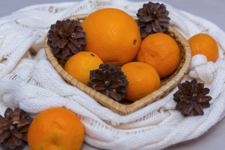 Mandarins and cones in a Christmas composition