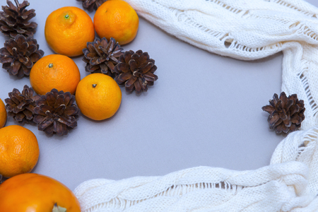 Tangerines with christmas decoration. Tangerines with spruce. Christmas decoration. Copy space Archivio Fotografico