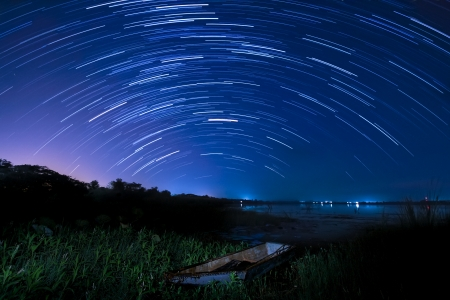 Beautiful star trail image during the night of the Geminids meteor shower in the Winter of 2012 in the Thailand