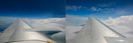 View of jet plane wing photo