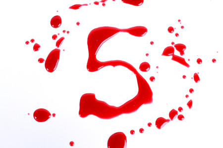 bloody hand print: Bloody print on a white background with the letters 5 Stock Photo