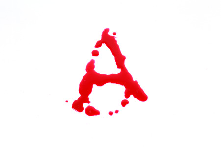 bloody hand print: Bloody print on a white background with the letters A Stock Photo