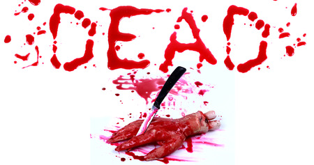 bloody hand print: Bloody print on a white background with the letters Dead