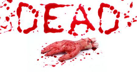 bloody hand print: Bloody impresi�n sobre un fondo blanco con las letras muertas Foto de archivo