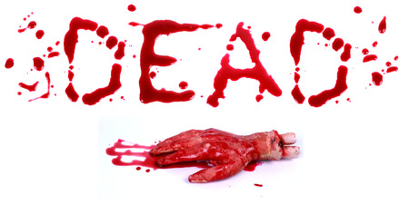 bloodstain: Bloody print on a white background with the letters Dead