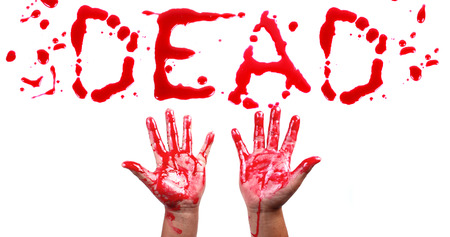 Bloody print on a white background with the letters Dead  photo