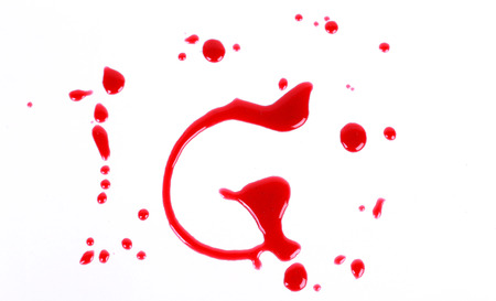 g spot: Bloody print on a white background with the letters G