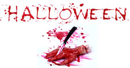 bloody hand print: Bloody impresi�n sobre un fondo blanco con las letras HALLOWEEN