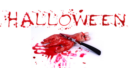 Bloody print on a white background with the letters HALLOWEEN photo