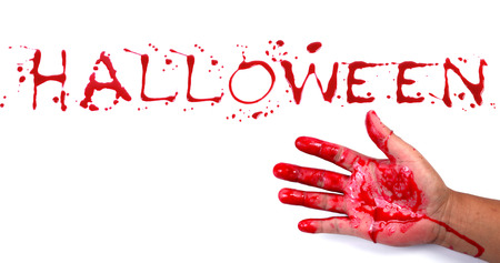 bloody hand print: Bloody print on a white background with the letters HALLOWEEN