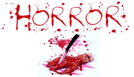 bloody hand print: Bloody impresi�n sobre un fondo blanco con el horror letras