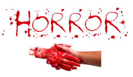bloody hand print: Bloody print on a white background with the letters HORROR