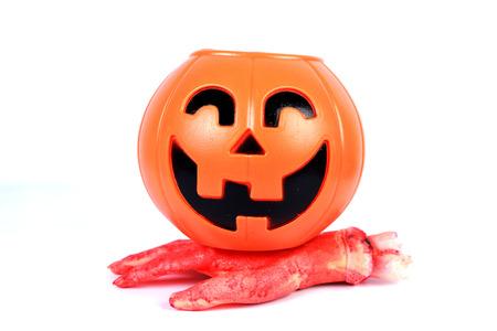 cucurbit: Halloween pumpkin  isolated on white