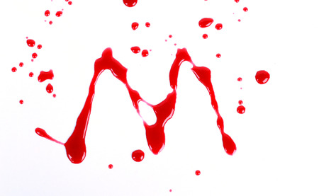 bloody hand print: Bloody print on a white with the letters M