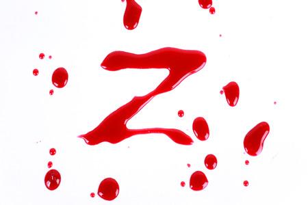 bloody hand print: Print Bloody sobre un fondo blanco con las letras Z