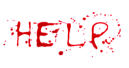 Bloody print on a white background with the letters HELP photo