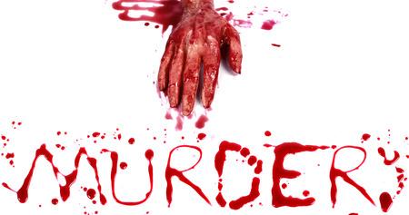 bloody hand print: Bloody impresi�n sobre un fondo blanco con el asesinato letras Foto de archivo