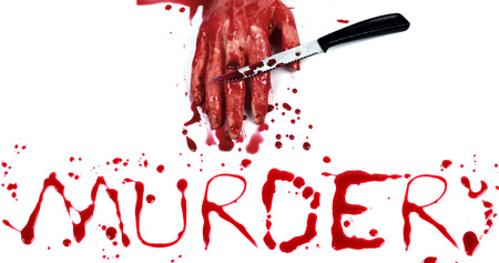 bloody hand print: Bloody print on a white with the letters MURDER Stock Photo
