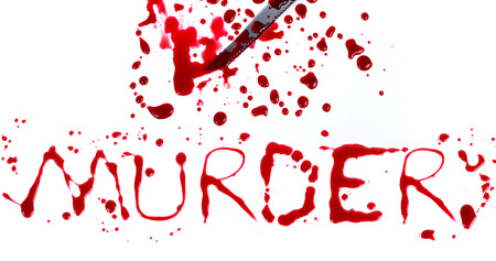 Bloody print on a white with the letters MURDER photo