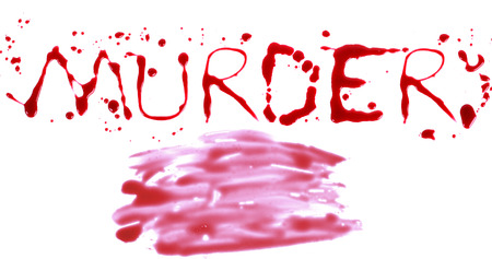 bloody hand print: Bloody print on a white background with the letters MURDER Stock Photo