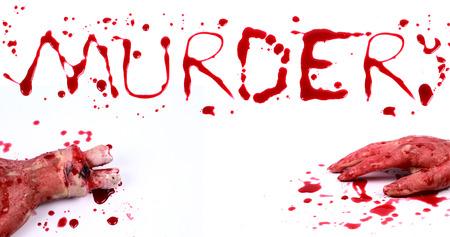 bloody hand print: Print Bloody sobre un fondo blanco con las letras ASESINATO