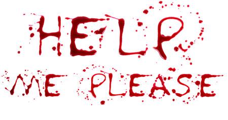 bloody hand print: Print Bloody sobre un fondo blanco con las letras AYUDA Foto de archivo