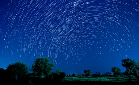 Beautiful star trail image during the night