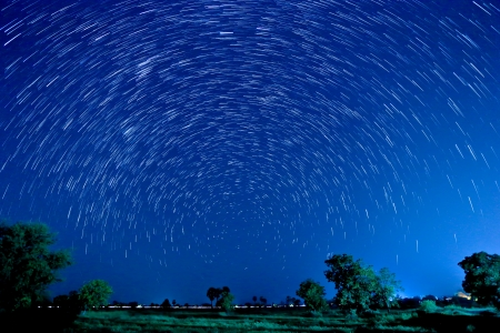 Beautiful star trail image during the night photo