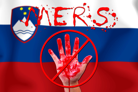 epidemic: Concept show hand stop MERS Virus epidemic  Slovenia flag . Stock Photo