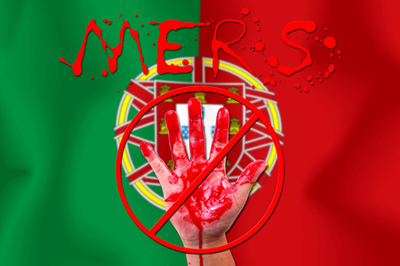 epidemic: Concept show hand stop MERS Virus epidemic  portuguese flag . Stock Photo