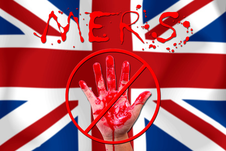 coronavirus: Concept show hand stop MERS Virus epidemic flag background.