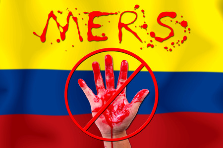 epidemic: Concept show hand stop MERS Virus epidemic COLOMBIA flag . Stock Photo
