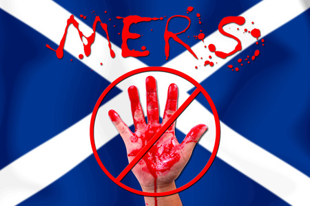 epidemic: Concept show hand stop MERS Virus epidemic  SCOTLAND  flag . Stock Photo