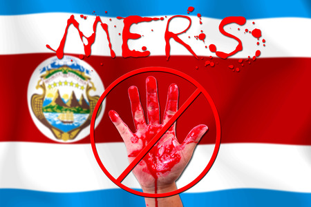 costa rica flag: Concept show hand stop MERS Virus epidemic Costa Rica flag . Stock Photo