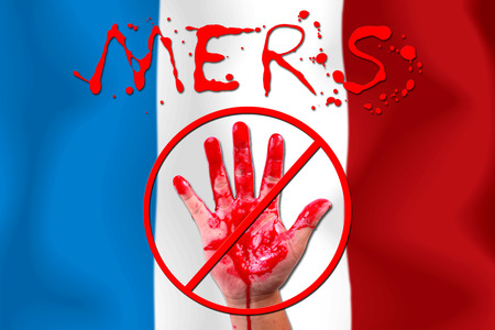 epidemic: Concept show hand stop MERS Virus epidemic  FRANCE flag . Stock Photo