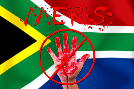 south africa flag: Concept show hand stop MERS Virus epidemic  South Africa flag . Stock Photo