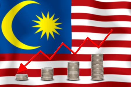 The economic going down of the MALAYSIA, with a head shot arrows down from the top medals.