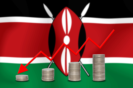 downturn: The economic going down of the KENYA, with a head shot arrows down from the top medals.