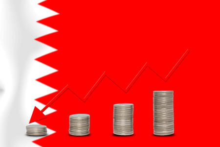 bahrain money: The economic going down of the BAHRAIN, with a head shot arrows down from the top medals. Stock Photo